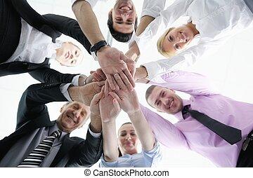 人々, 参加する, グループ, ビジネスの手
