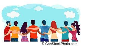 人々, 友人, multiethnic, コミュニケーション, 社会, dialogue., 抱きしめられた, diversity., 友情, network., 生徒, teamwork., 協力, community., グループ, organization., united.
