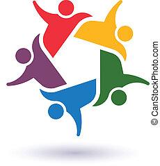 人々, 合併した, 社会, アイコン, チーム, ベクトル, 5, 概念, partners., 人, グループ, committee.