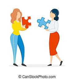 人々, 困惑, ジグソーパズル, 考え, 2, piece., チームワーク, 保有物