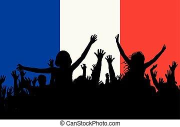 人々, 国民, フランス, 祝う, シルエット, 日