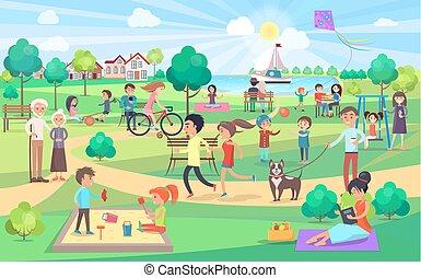 人々, 大きい, すべて, 日, 公園, 緑, すてきである, 年齢