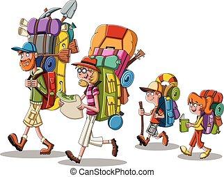 人々, 大きい, gears., 家族のキャンプ, 漫画, backpacks., 届く