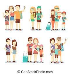 人々, 家族, 恋人, ベクトル, 特徴, 旅行する, 観光客, 漫画, 幸せ