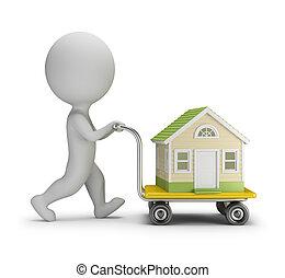 人々, 家, -, 届く, 小さい, 3d