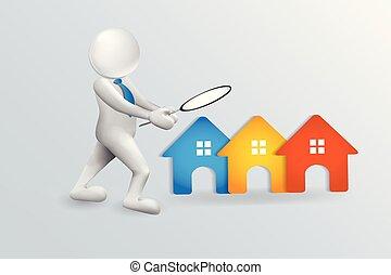 人々, 家, 探索, ベクトル, ロゴ, 3d