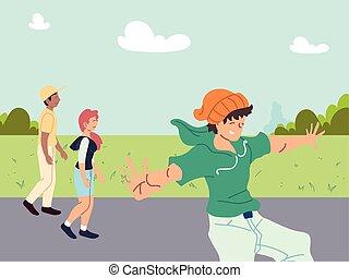 人々, 屋外, グループ, スポーツ活動