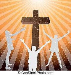 人々, 崇拝, へ, ∥, 神