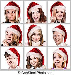 人々, 帽子, クリスマス, 若い