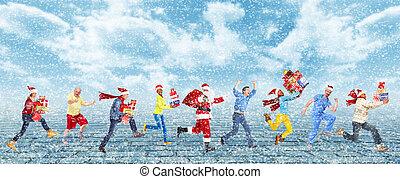 人々。, 幸せ, 動くこと, クリスマス