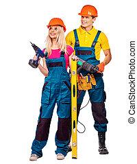 人々, 建設, tools., グループ, 建築者