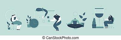 人々, ∥(彼・それ)ら∥, 効率的である, 現場, work., 任命, illustration., ベクトル, 時間管理, 状態, オフィス, 平ら, 多重タスク処理, 首尾よく, 効果的である, セット, 組織化する, 仕事