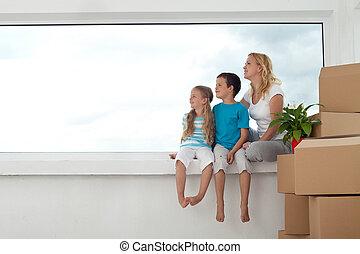 人々, -, ∥(彼・それ)ら∥, 明るい未来, 家, 新しい, 幸せ