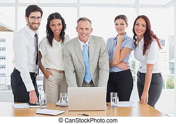 人々, 微笑, カメラ, ビジネス