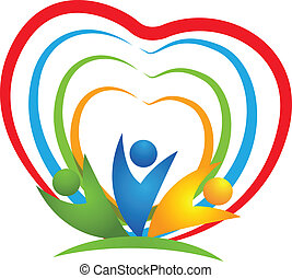 人々, 心, 接続, ロゴ