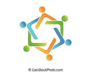 人々, 成功した, ロゴ, 楽天的である, チームワーク