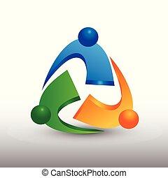 人々, 成功した, 抽象的, ベクトル, チームワーク, ロゴ