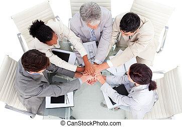 人々, 手, ビジネス, 朗らかである, インターナショナル, 一緒に