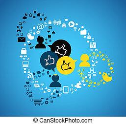 人々, 抽象的, 媒体, 接続, 案