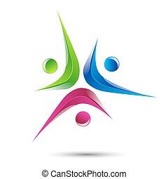 人々, 抽象的, 要素, デザイン, ロゴ, アイコン