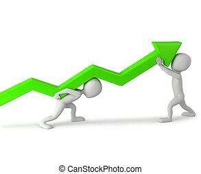 人々, 昇給, 小さい, -, statistics., 3d