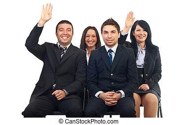人々, 昇給, 手, ビジネス