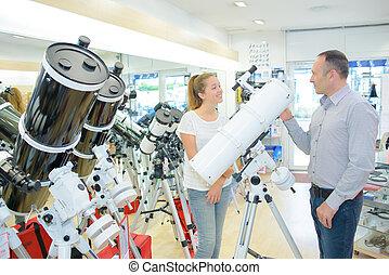 人々, 望遠鏡, 店, 2