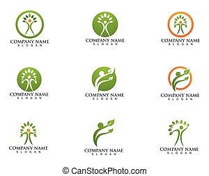 人々, 木, ベクトル, 緑, カード, テンプレート, ロゴ, アイデンティティー