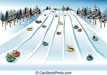 人々, 楽しい時を 過すこと, sledding, 上に, 管, 丘, の間, 冬