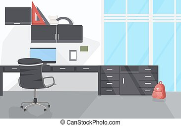 人々, 横, 現代, オフィスを空にしなさい, 平ら, 内部, いいえ, 仕事場
