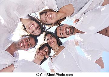 人々, 浜, グループ, 幸せ, 楽しみ, 持ちなさい, 若い