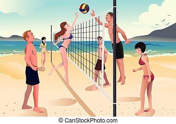 人々, 浜, バレーボールをする, 若い