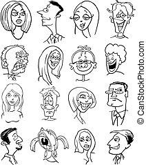 人々, 漫画, 特徴, 顔