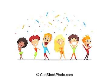 人々, 男性, 若い, イラスト, 持つこと, ベクトル, 楽しみ, パーティー, 幸せに微笑する, 漫画, 女性