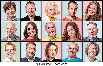 人々。, 男性, 若い, コレクション, avatar, 顔, シニア, 微笑, 女性