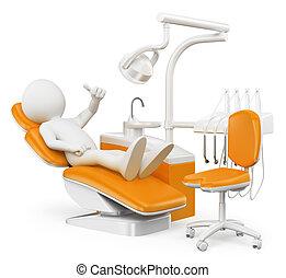 人々。, 白, 患者, 歯科医, 3d