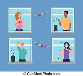 人々, 社会, 持つこと, 若い, distancing, 概念, パーティー, 窓