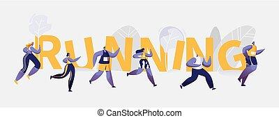 人々, 競争, 動くこと, スポーツ, 旗, マラソン