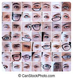 人々, 細字用レンズ, コラージュ, 目