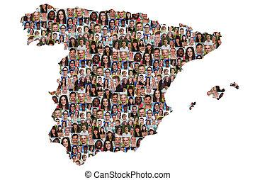 人々, 統合, 若い, スペイン, グループ, multicultural, 地図, 多様性