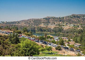 人々, 自動車, 丘, ハリウッド, 言葉, 映像, 有名, 反対, アメリカ, シンボル, 取得, 駐車される