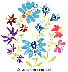 人々, 花のパターン, 色, 円