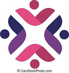 人々, 花, design., ベクトル, ロゴ, 形