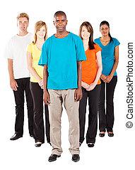 人々, 若い, グループ, 多様, 白