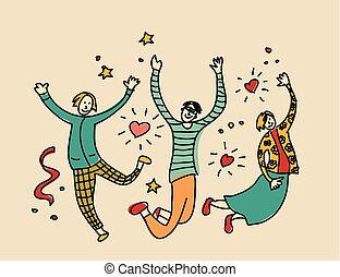 人々, 若い, ジャンプ, チーム, 友人, 幸せ