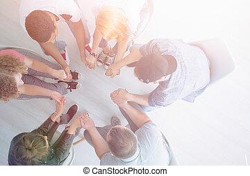 人々, 若い, 手を持つ