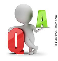 人々, -, 質問, 小さい, 答え, 3d