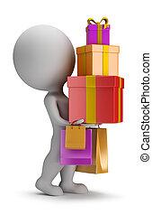 人々, -, 贈り物, 届く, 小さい, 3d