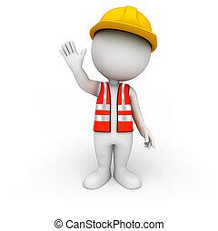 人々, 道の労働者, 3d, 白