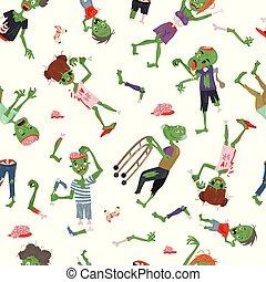 人々, 部分, ハロウィーン, 人間の皮膚, 器官, パターン, vecctor, 特徴, 背景, パーティー, モンスター, 体, 女, イラスト, ゾンビ, 漫画, 人, マジック, ベクトル, 緑, 招待